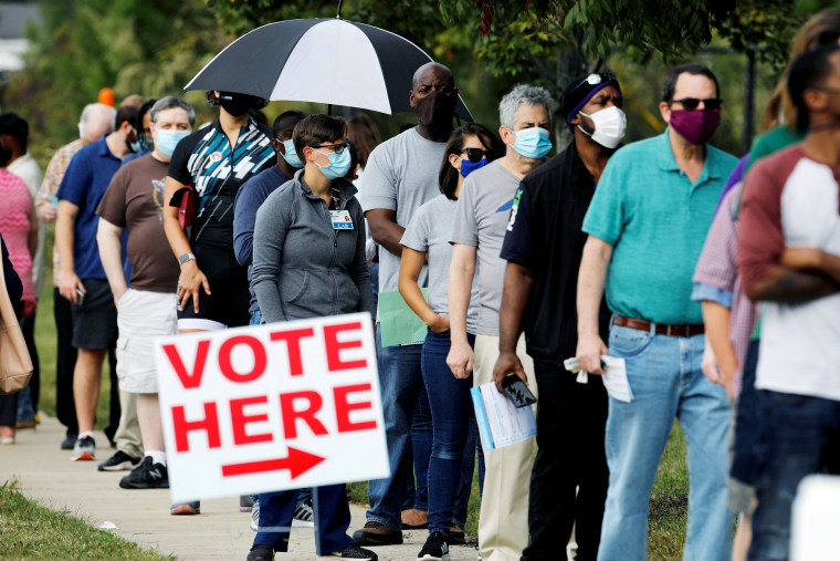 Image: First day of in-person early voting for the general elections in Durham, North Carolina