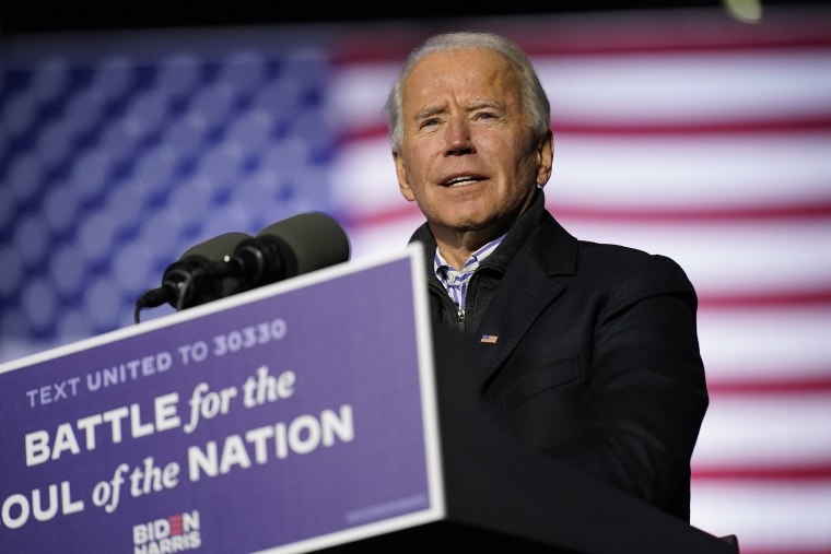 Image: Democratic presidential candidate former Vice President Joe Biden speaks during a drive-in rally at Heinz Field, Monday, Nov. 2, 2020, in Pittsburgh.