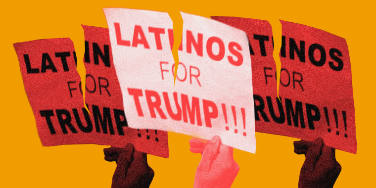 Image: Three hands with red overlays hold up torn signs that read 'Latinos for Trump'