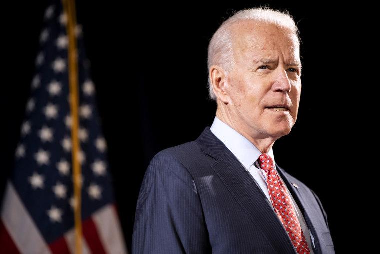 Image: Joe Biden at a press conference in Wilmington, Del., on March 12, 2020.