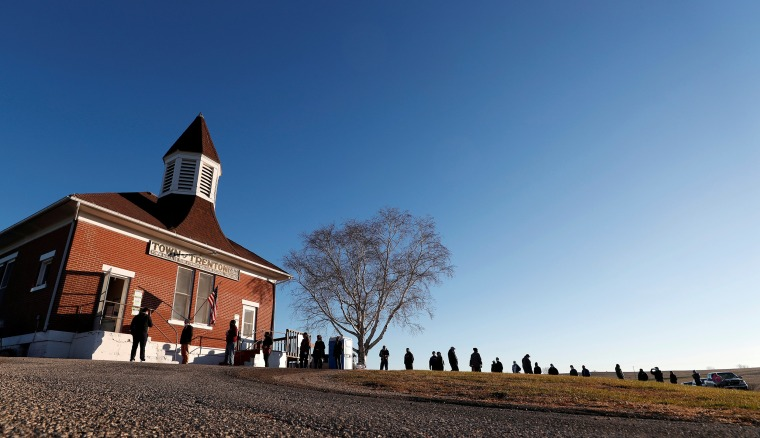 Image: Voters line up at polling station during Election Day in Trenton Wisconsin