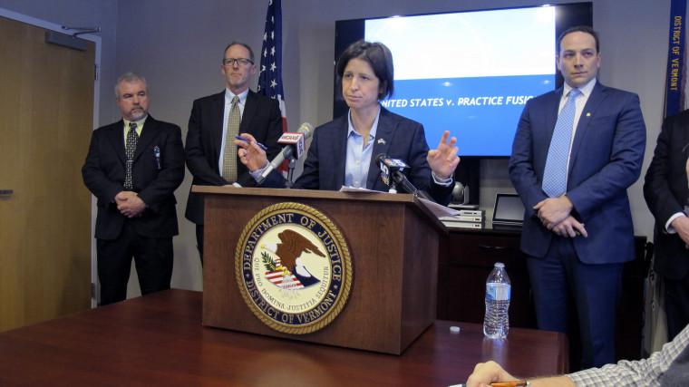 U.S. Attorney Christina Nolan, center, speaks at a news conference in Burlington, Vt., on Jan. 27, 2020.