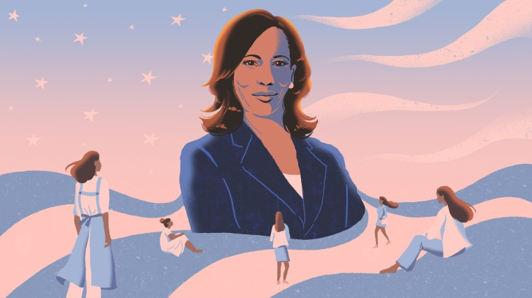 Illustration of Kamala Harris standing in front of a flag motif. South Asian women look at her.