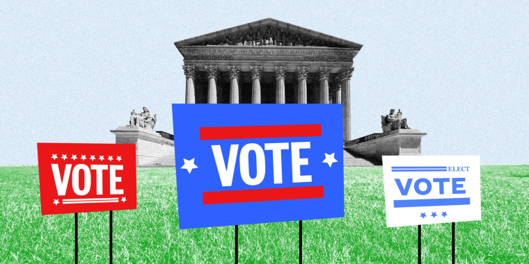 Image: Three lawn signs that read 'VOTE' with the Supreme Court in the background