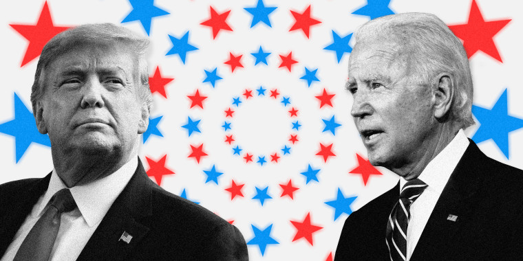 Image; President Donald Trump and Joe Biden on a background of red and blue stars in concentric circles.