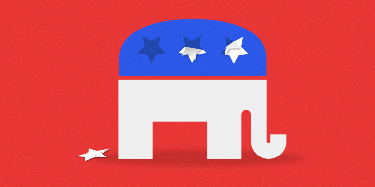 Image: The two stars from the GOP elephant are peeling off the surface, one star is on the ground