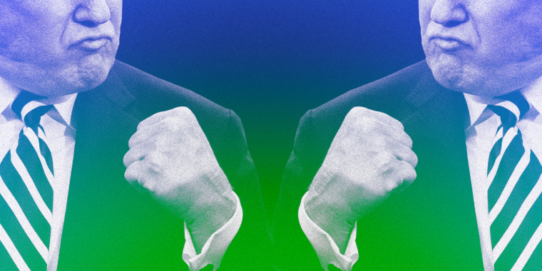 Image: Donald Trump pumps his fist; color overlayed with green and blue.