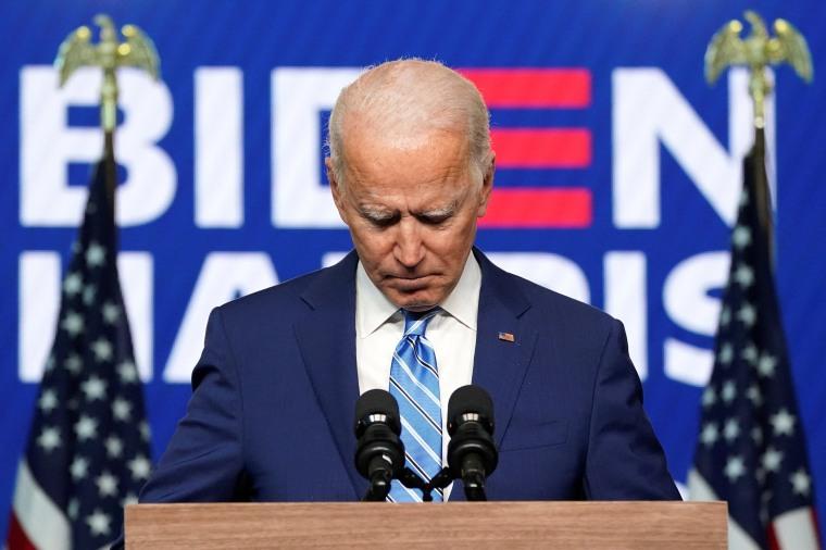 Image: Democratic U.S. presidential nominee Biden speaks about 2020 the presidential election in Wilmington, Delaware