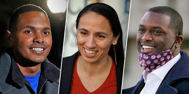 Rep.-elect Ritchie Torres,  D-N.Y., left, Rep. Sharice Davids, D-Kan. and Rep.-elect Mondaire Jones, D-N.Y.