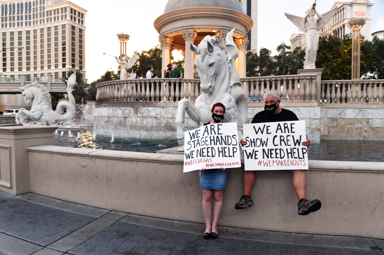 Las Vegas Entertainment Workers Hold Drive And March Event To Support Industry Decimated By COVID-19