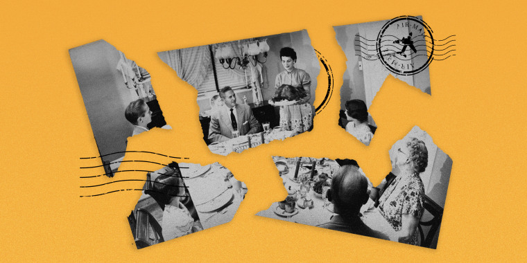 Image: A vintage postcard of a family having a thanksgiving meal is torn into different pieces.
