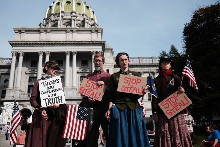 """Image: Trump Supporters Hold \""""Stop The Steal\"""" Protest At Pennsylvania State Capitol"""