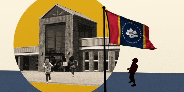 Image: The new state flag of Mississippi against a yellow colored circular frame of a school, a silhouette of a young boy looks up at the flag.