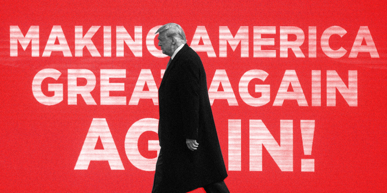 Image: Donald Trump walks against a red back with white text that reads: MAKE AMERICA GREAT AGAIN AGAIN!