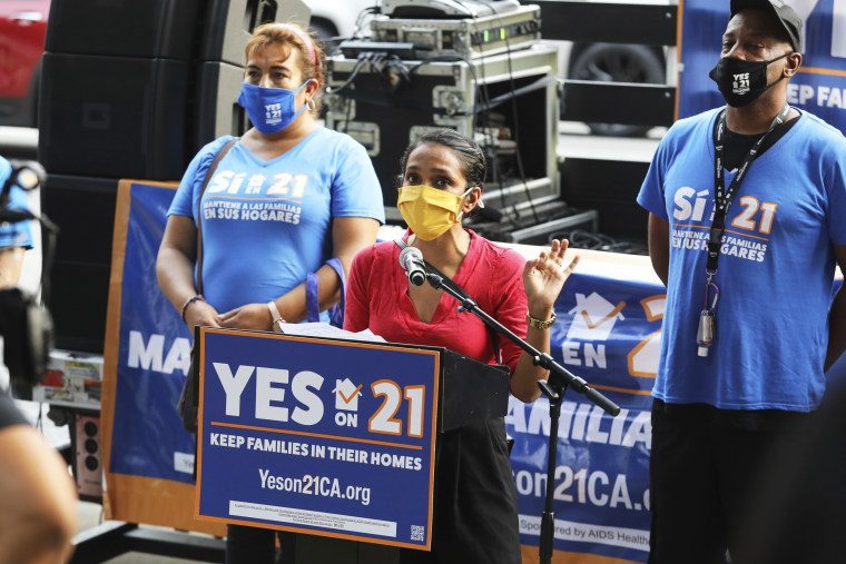 """Nithya Raman speaks at the """"Celebrate Renters Rally!"""" hosted by California's Yes on 21 campaign in Los Angeles on Sept. 8."""