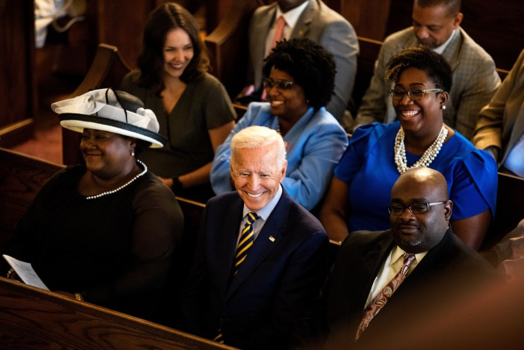 Image: Joe Biden attends a service at Morris Brown AME Church in Charleston, S.C., on July 7, 2019.