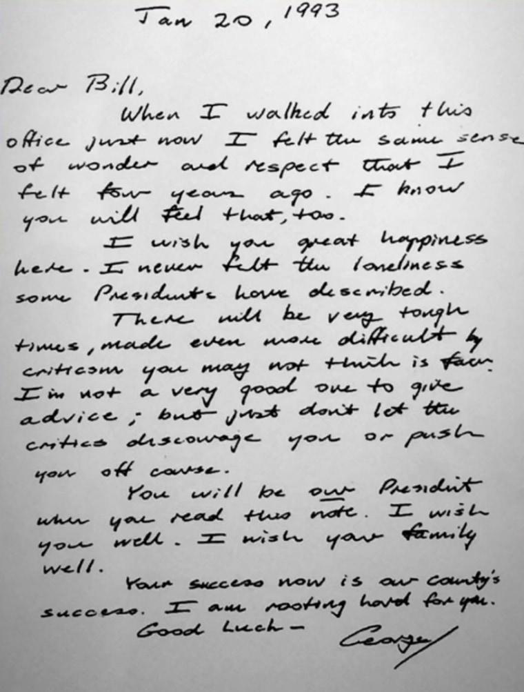 The letter George H.W. Bush wrote to his successor, Bill Clinton, in 1993.