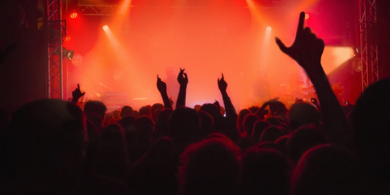 Crowd with arms in air at music concert