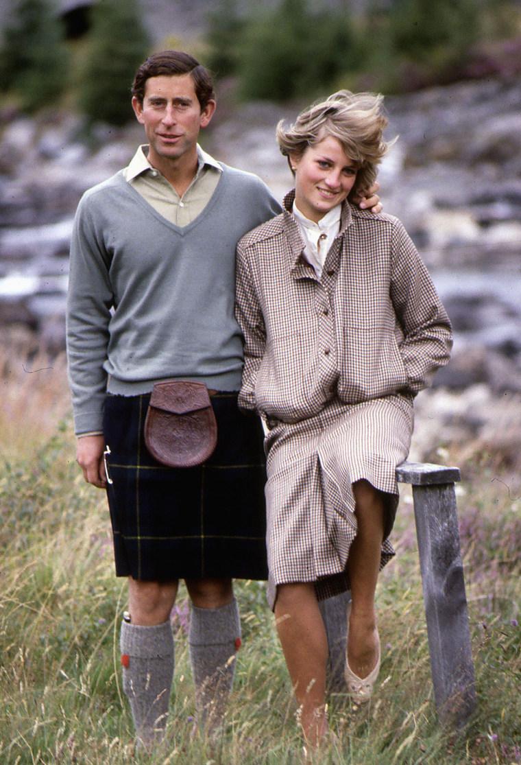 Image: Prince Princess Of Wales at Bridge of Dee Balmoral August 1981