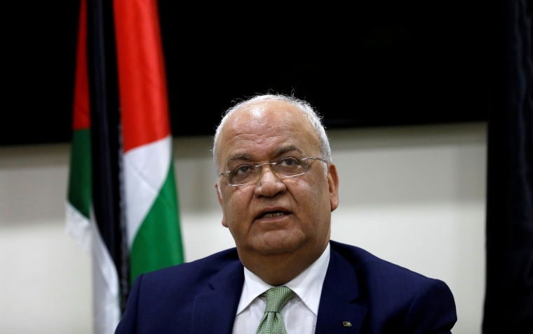 Image: Palestinian negotiator Saeb Erekat following a meeting with foreign diplomats, in Ramallah, in the Israeli-occupied West Bank