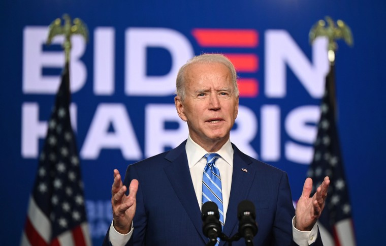 Image: Democratic Presidential candidate Joe Biden speaks at the Chase Center in Wilmington, Del