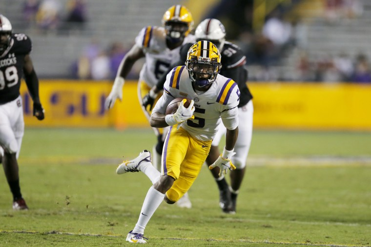 LSU wide receiver Koy Moore (5) runs the ball against South Carolina during second half of an NCAA college football game in Baton Rouge, La., on Oct. 24, 2020.