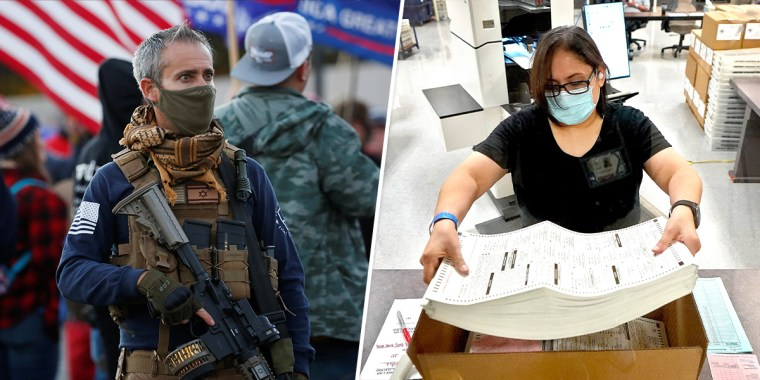 """Left: A supporter of President Donald Trump carries a rifle in a """"Stop the Steal"""" protest in Phoenix on Sunday. Right: Arizona elections officials continue to count ballots inside the Maricopa County Recorder's Office in Phoenix on Friday."""