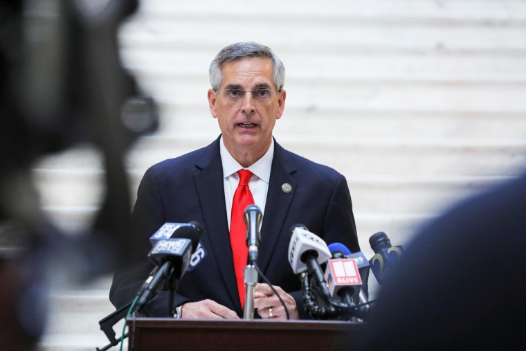 Image: Georgia Secretary of State Brad Raffensperger gives an update on the state of the election and ballot count during a news conference at the State Capitol in Atlanta, Georgia