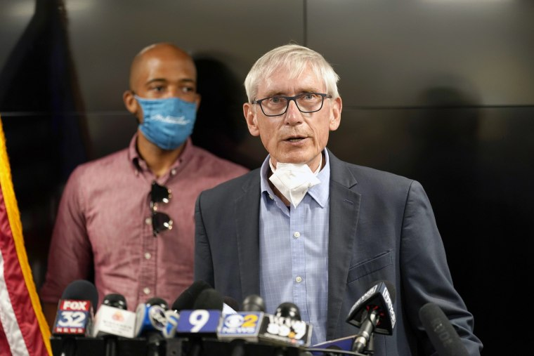 Wisconsin Governor Tony Evers speaks during a news conference on Aug. 27, 2020, in Kenosha, Wis..