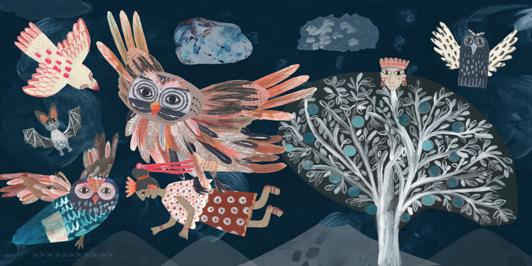 """An illustration from """"Popol Vuh: A Retelling"""" by Ilan Stavans, with illustrations by Gabriela Larios."""