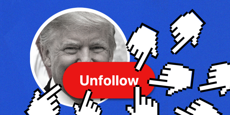 """Image: Multiple hand icons coming towards a button that reads """"Unfollow"""" over an image of Donald Trump in a circular frame."""