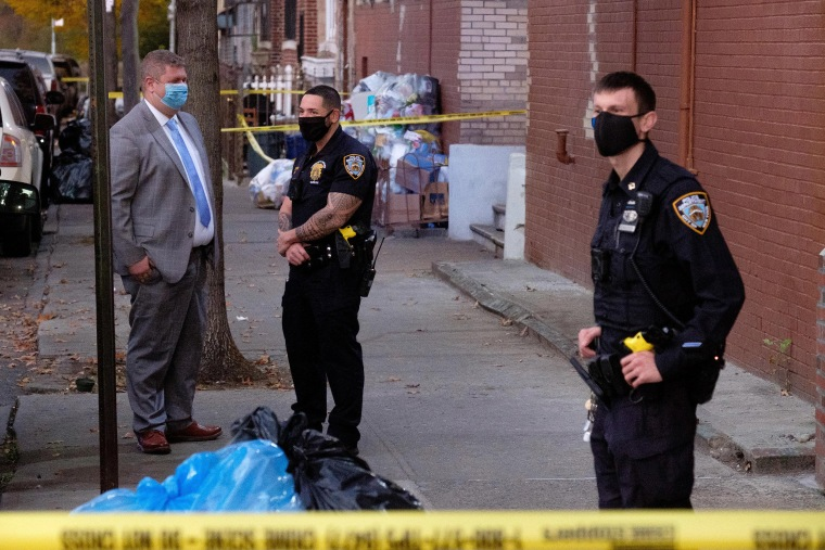 Image: Police investigate after the bodies of two babies were found in the rear courtyard of 1460 College Avenue in the Bronx, New York City