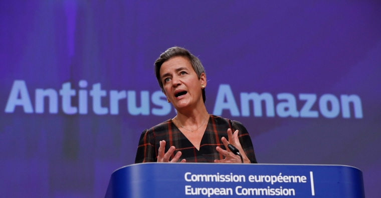 Image: European Commission Vice-President Vestager gives a news conference on a competition case