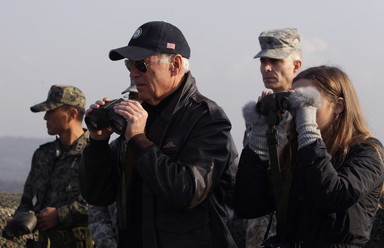 Image: Vice President Joe Biden and his granddaughter Finnegan Biden look through binoculars toward North Korea during a visit to observation post Ouellette at the Demilitarized Zone