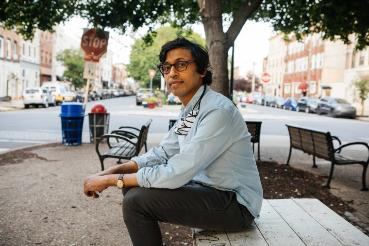 Nikil Saval, a socialist candidate running for State Senate in Pennsylvania's 1st district, in Queen Village, Philadelphia, May 21, 2020. (Michelle Gustafson/The New York Times)
