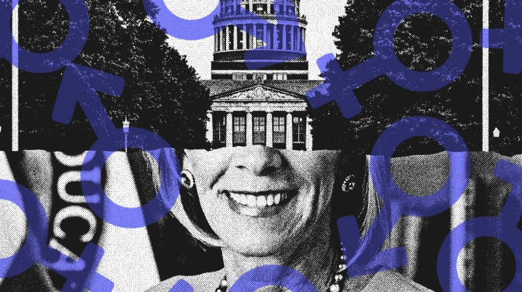Photo illustration of University of Rochester and Betsy deVos with feminism symbol overlaid.