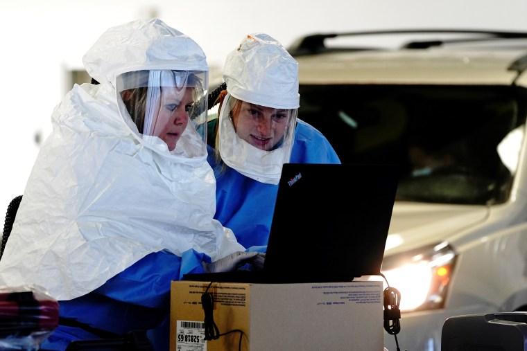 Image: Drive-thru COVID-19 testing site in Sioux Falls, South Dakota