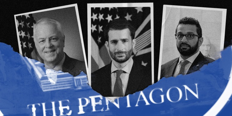 """Image: A torn blue paper that reads, \""""The Pentagon\"""" reveals three photographs of Anthony Tata, Ezra Cohen-Watnick, and Kash Patel."""