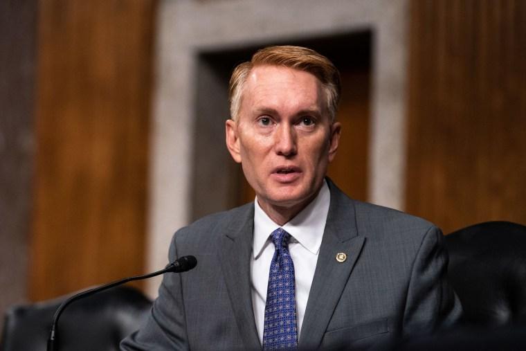 Image:  Sen. James Lankford speaks during a meeting in Washington, DC.