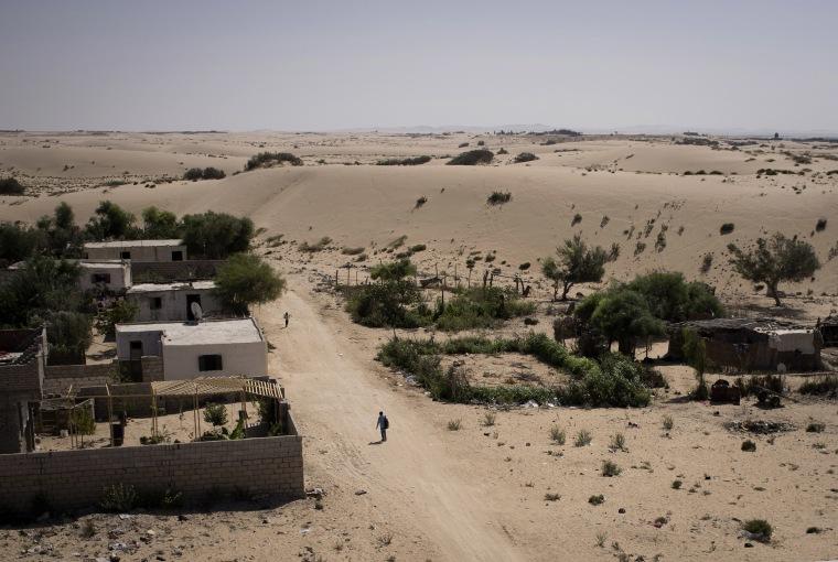 Image: A man walks through a small street in Al Reesa, a suburb of El Arish, the capital of Egypt's restive North Sinai region.