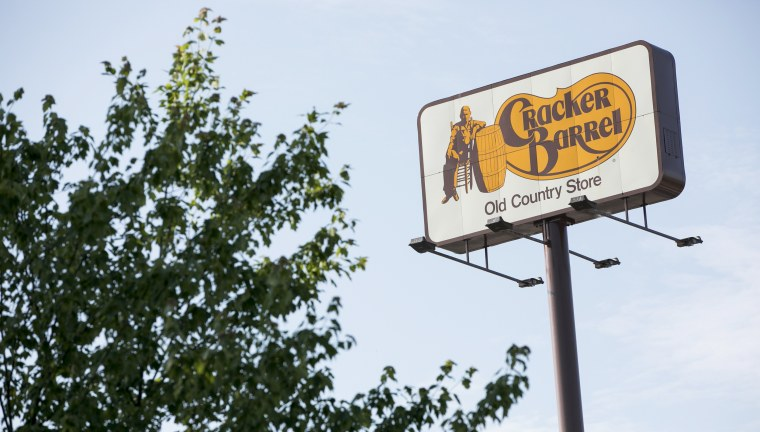 A logo sign outside of a Cracker Barrel Old Country Store restaurant location in Hagerstown, Md., on June 10, 2020.