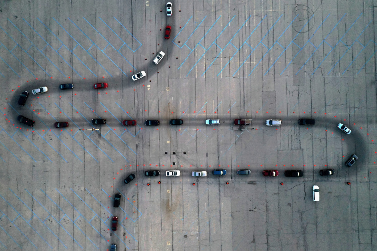 Image: Aerial view of drive-thru COVID-19 testing site at Miller Park in Milwaukee, Wisconsin