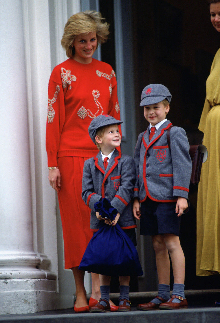 Image: Princess Diana with her sons Prince William and Prince Harry at Wetherby School.
