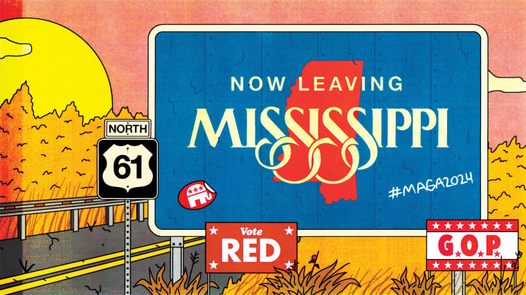 """Image: Illustration of a sign says \""""Now Leaving Mississippi\"""" surrounded by GOP and Republican support signs on Route 61."""