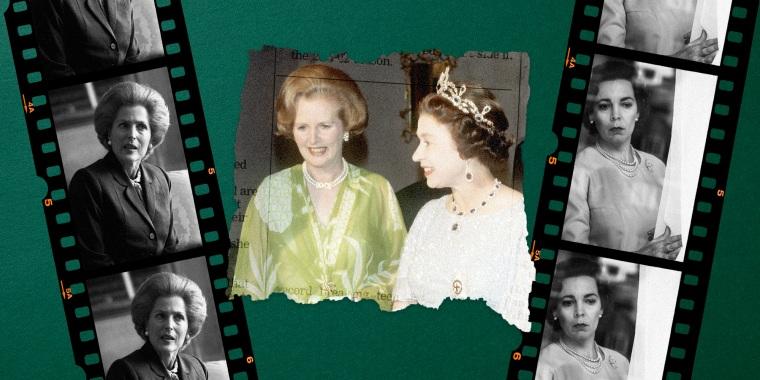 Image: Queen Elizabeth and Margaret Thatcher