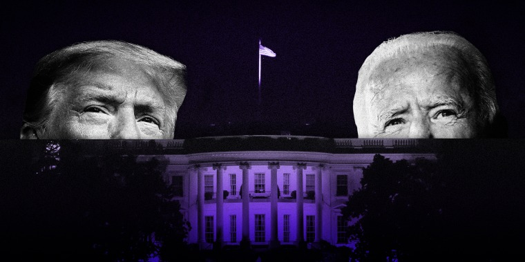 Image: Donald Trump and Joe Biden peek out over a purple White House in shadow at night.