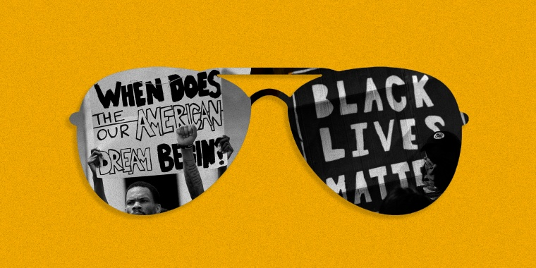 "Image: Black sunglasses against a yellow background. One lens shows a image of protestors holding a sign that reads,""When does our American dream begin?"". The other lens has a sign that reads,"" black lives matter"""
