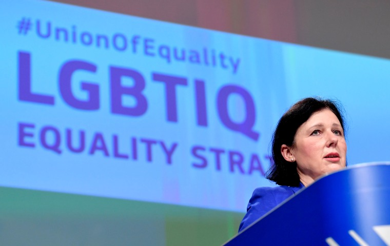 Image: European commissioner Vera Jourova presents the bloc's strategy on equality and LGBTI+ in Brussels