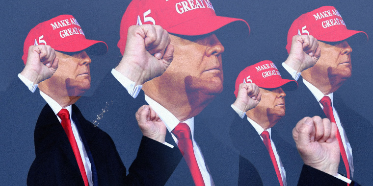 Image: President Donald Trump, wearing a red MAGA hat, dances at a campaign rally.