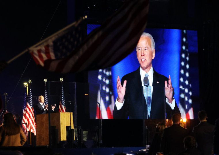 Image: Democratic 2020 U.S. presidential nominee Joe Biden's election rally, after news media announced that he has won the 2020 U.S. presidential election, in Wilmington, Delaware